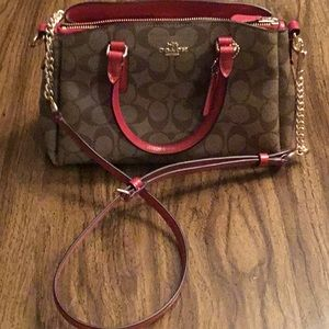Coach signature canvas brown and true red canvas